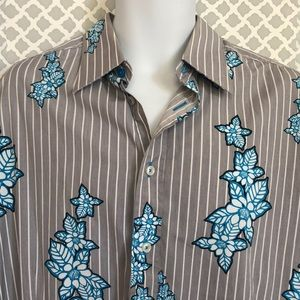 Sean Jean striped gray slim blue floral mens shirt